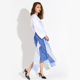 [EWQ] 2019 New Spring Summer High Elastic Waist Blue Striped Irregular Split Joint Half-body Skirt Women Fashion Tide JO638 - thefashionique