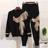 [EWQ] 2019 Spring Autumn Fashion Long Sleeve Round Collar Sequined Beaded Phoenix T-shirt Elastic Waist Pants Casual Suit AC926 - thefashionique