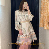 [EWQ] 2020 Spring New Sweet O-Neck Lantern Sleeve Slim Women Dress Korea Style Loose High-quality Embroidered Women Dress QZ250