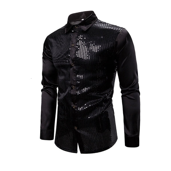 EWQ / Men's Clothing Golden Silver Paillette Satins Shirt For Male 2020 Spring Fashion Loose Big Size Tops Tide 19H-a299