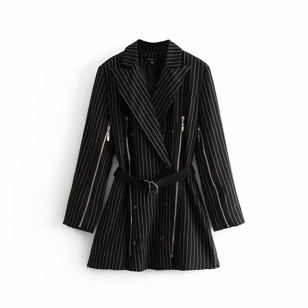 [EWQ]New Autumn 2018 Fashion Long Sleeve Notched Collar Patchwork Striped Double Breasted Zipper Lace Up Casual Suit AC271 - thefashionique