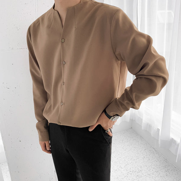 EWQ / men's wear 2020 spring casual stand collar solid color shirt for male Personality Trend Handsome Long Sleeve Tops 9Y899
