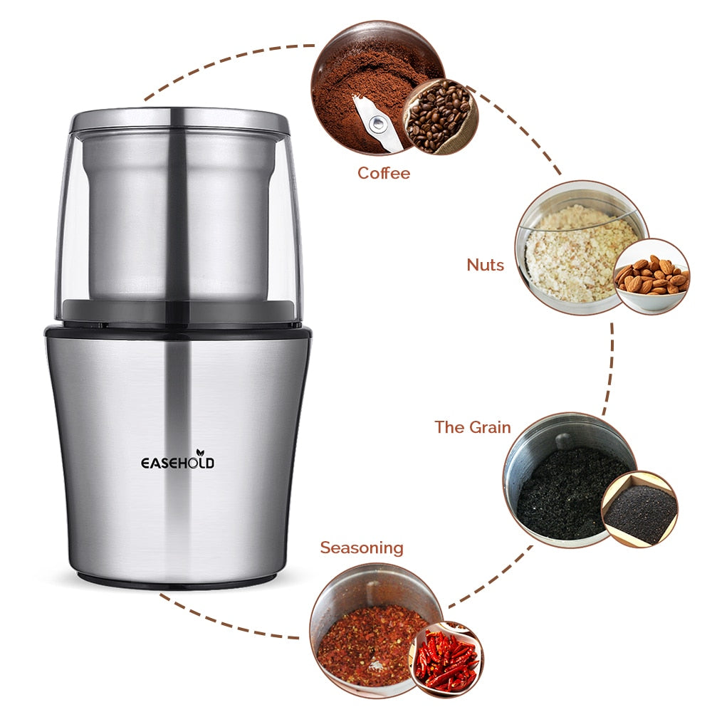 Easehold 200W Electric Coffee Grinder Stainless Steel Body Big Capacity for Salt Pepper Grinder Powerful bean Grinding Machine - thefashionique