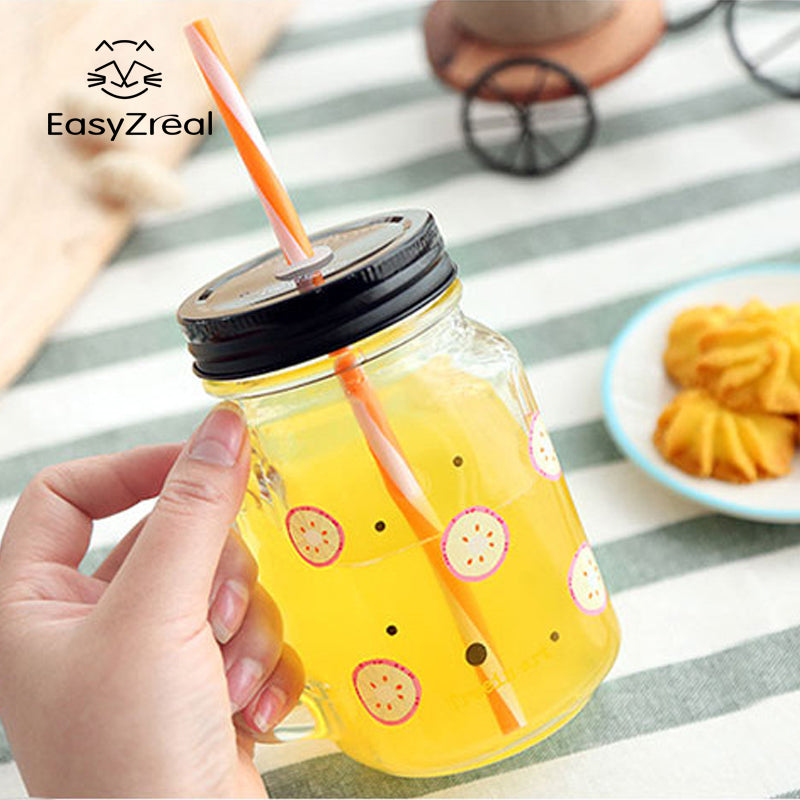EasyZreal 2018 Fruit Mason Jar Bottle Colored Bar Cup Coffee mug with handle glass Mug Office Lovers beer wine Glass jar Gifts - thefashionique