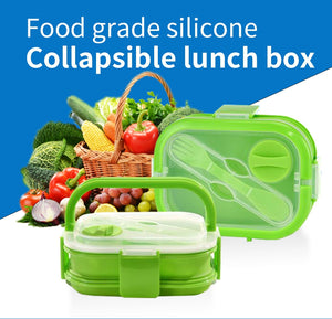 Eco-Friendly Silicone Lunch box 1100ML Collapsible School Food Box kids Children BPA Free Bento Lunch Container Picnic Ourdoors