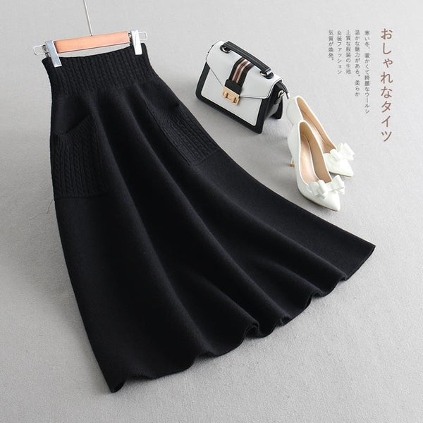 Elastic Hight waist skirts Womens A-line skirts 2019 Spring knitting cotton elastic pockets Splicing skirt Ladies Skinny skirts - thefashionique