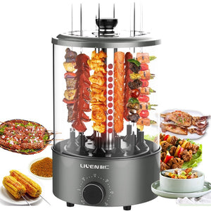 Electric Grills  Automatic Rotating Barbecue Machine Small Kebab Machine Home Interior Smokeless BBQ Temperature Control
