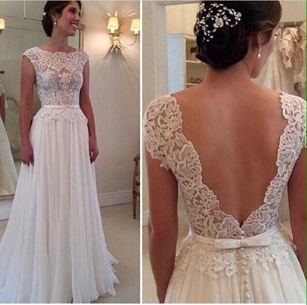 Elegant Bateau Lace Bodice Low Back Cap Sleeve Floor Length Summer sexy backless bridal gown 2018 Mother of the Bride Dresses - thefashionique
