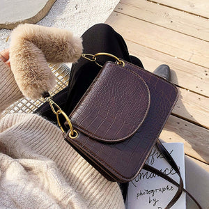 Elegant Female Plush Tote Bag 2020 Winter New Quality Leather Women's Designer Handbag Crocodile pattern Shoulder Messenger Bags