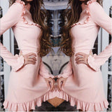 Elegant Lady Turtleneck Ruffles A-Line Dress 2018 Spring Summer Women Fashion Flare Sleeve Female Mini Party Dresses Vestidos - thefashionique