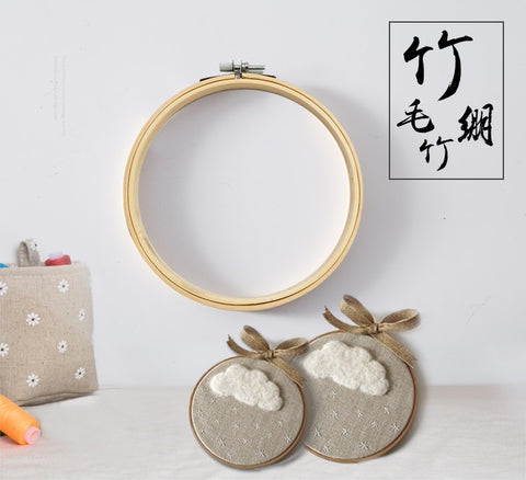 Embroidery Circle Set Hoops Cross Hoop Ring Wooden Round Adjustable Bamboo Hoops for Art Craft Handy Sewing kit