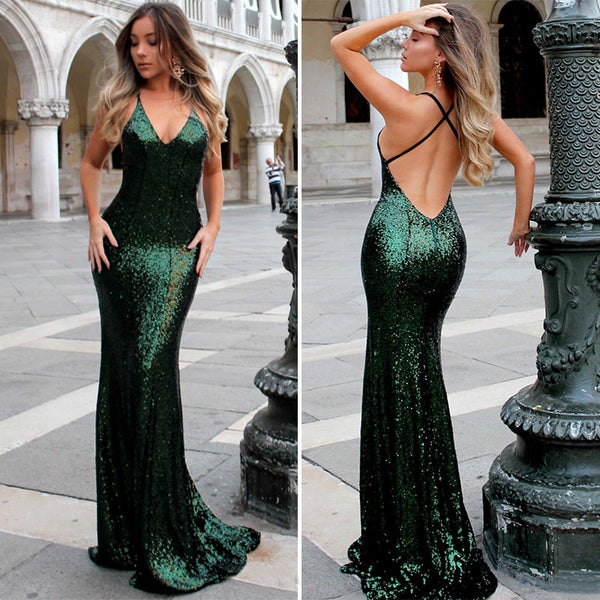 Emerald Green Sequins Mermaid Prom Gowns Sexy V Neck Backless Evening Gown Spaghetti Strap Floor-Length Party Dress Custom Made - thefashionique