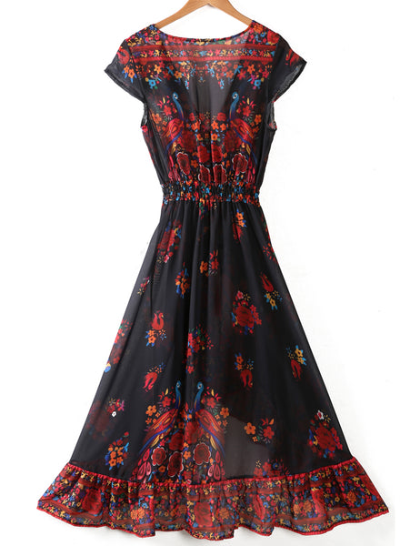 Ethnic new 2016 Fashion Women Maxi print dress long high quality Summer Beach Chiffon Party Dresse style cheap vestidos de festa - thefashionique