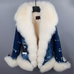 Europe ultra short denim fox fur big fur collar fashion plus velvet warm jacket
