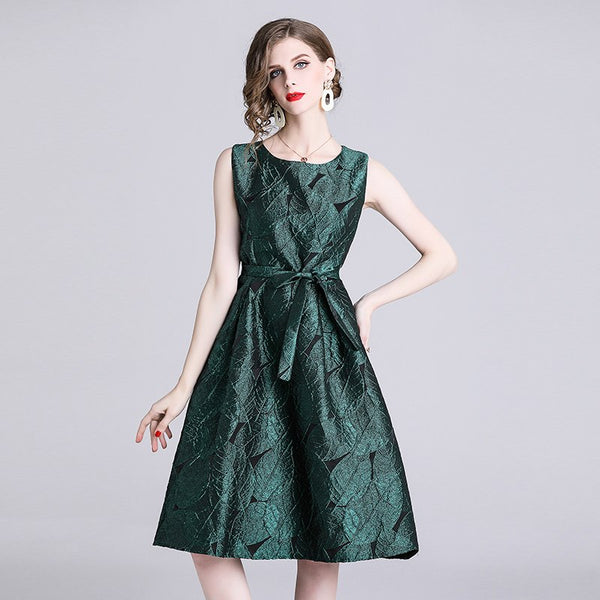 European 2019 Summer Style Women's Sleeveless Jacquard Dress Female Casual High Waist Belted Clothing Slim Tank Dresses - thefashionique