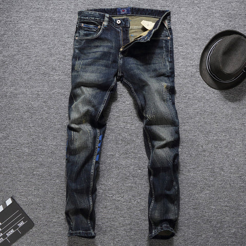 European American Autumn Winter Fashion Men Jeans Dark Color Printed Jeans Men Denim Pants Balplein Brand Jeans Men Biker Jeans