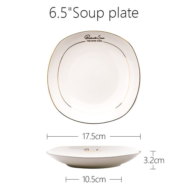 European Bone China Square dining plate steak plates dishes salad plate Soup Bowls High Quality White porcelain Dinnerware Set