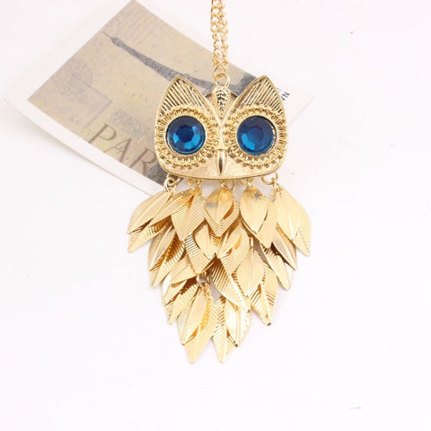 European and American New Style Elegant Owl Tassel Leaf Rhinestone Sweater Necklace#247 - thefashionique