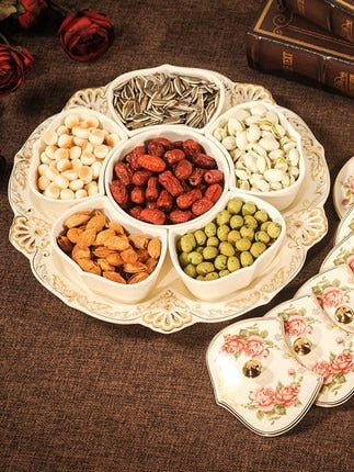 European-style dried fruit tray ceramics grid with lid creative dried fruit box candy melon seeds snack tray living room fruit t