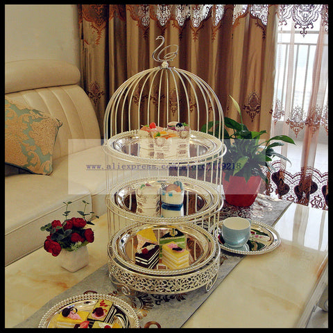 Exclusive creative three-layer bird cage afternoon tea snack rack West point plate baking dessert cake stand