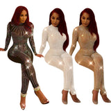 Explosion models sexy woman devil your jumpsuit nightclub women's hot drilling new hot drilling mesh yarn jumpsuit fashion Slim - thefashionique