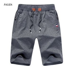 FALIZA 2018 New Solid Men's Shorts  Summer Men's Beach Shorts  Elastic Waist Cotton Casual Shorts With Zipper Pockets 5XL DK-A - thefashionique