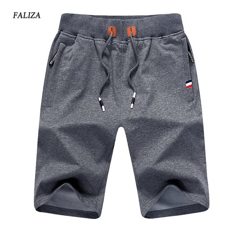 FALIZA 2018 New Solid Men's Shorts  Summer Men's Beach Shorts  Elastic Waist Cotton Casual Shorts With Zipper Pockets 5XL DK-A