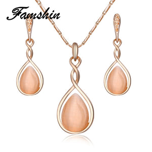 FAMSHIN Fashion Geometric Opal Jewelry Sets For Woman Gold Color Long Necklace Pendant Crystal Earrings Wedding Jewelry Gift - thefashionique