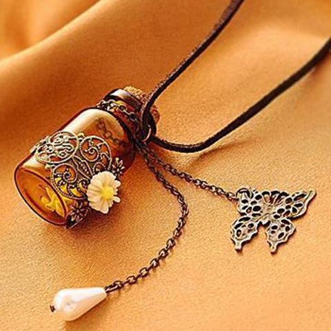 FAMSHIN Fashion jewelry 2016 necklace Carved long leather cord necklaces & pendants retro cork Wishing bottle sweater chain - thefashionique
