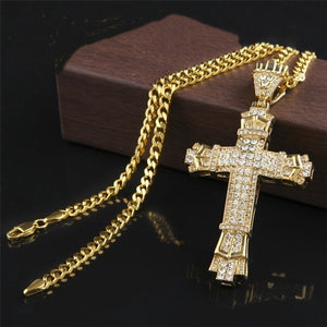FDLK  Men's Fashion Jewelry Gold Color Crystal Stainless Steel Cross Pendant Necklace Chain