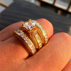 FDLK     Brand Jewelry Gold Color 20CT Precious Princess-cut CZ Stone Cocktail Wedding Band Rings Set For Women 3-in-1