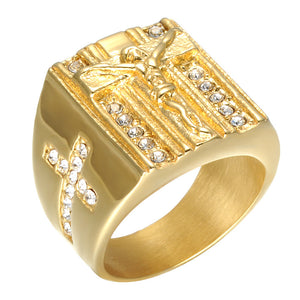FDLK     Brand Jewelry Jesus Cross White Cubic Zirconia Ring for Men Gold Tone Crucifix CZ Band Male Jewelry