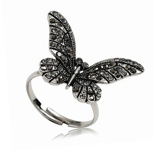 FDLK    Classic Crystal Butterfly Adjustable Ring Personality Women Opening Resizable Ring For Female Friend Best Gift