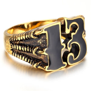 FDLK        Classic Retro Men Lucky Number 13 Ring Fashion Memorial Ring Accessories Jewelry For Male Friend Best Gift