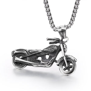 FDLK  Classic Retro Stainless Steel Motorcycle Pendant Necklace Fashion Mens Skeleton of Locomotive Pendant & Necklace for Men