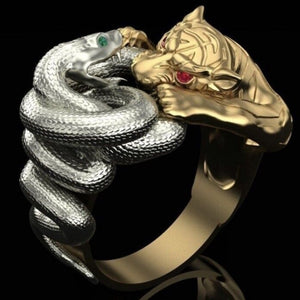 FDLK   Creative Gifts Gold Colour Silver Colour Rings Snake Panther Battle Punk Ring Men's Hip Hop Stainless Steel Party Jewelry