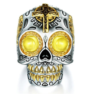 FDLK    Creative Men's Natural Yellow Crystal CZ Stone Skull Punk Ring Jewelry Size 6 7 8 9 10 11 12 13 14 15