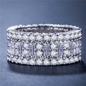 FDLK  Exquisite Alloy Natural White Crystal Cz Birthstone Men's And Women's Wedding Engagement Ring Size 5 - 12