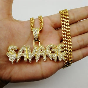 FDLK     Fashion Hip Hop Necklace Brass Gold Color Iced Out Chains Micro Pave CZ SAVAGE Pendant Necklace Jewelry Wholesale
