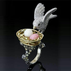 FDLK    Fashion Multicolor Pink Crystal Rhinestone Bird Flower Rings for Women Bohemia Animal Wedding Engagement Ring Jewelry