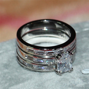 FDLK      Fashion Women Rings 3ct Princess Cut Crystal Cz Ring Women Wedding Engagement Ring Sets