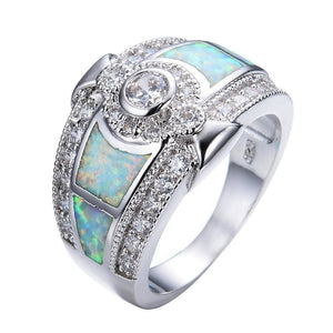 FDLK   Fashion Women Zinc Alloy White Fire Opal & Crystal Ring Marriage Engagement Jewelry Ring Size 5-12