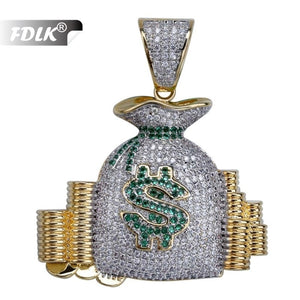 FDLK  Hip Hop US Money Bag Stack Cash Coins Pendant Necklaces Gold colour Necklaces Men Charm Jewelry