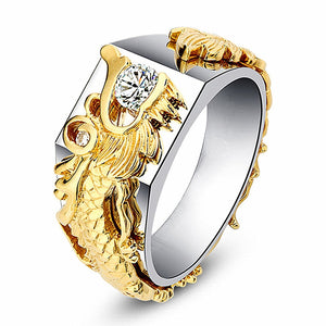 FDLK    Luxury Jewelry Domineering Dragon Zircon Rings for Men Biker Punk Rock Fashion Finger Ring Gift for Male
