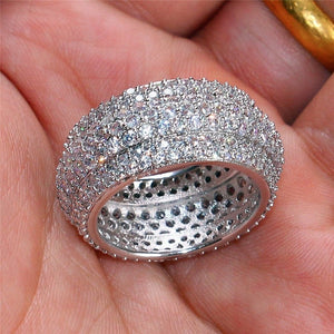 FDLK   Luxury Pave setting Full 360pcs Crystal Cz Stone Rings Men Women Wedding Band Ring Alloy Jewelry