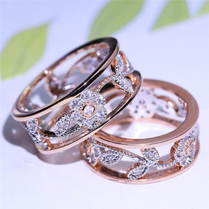 FDLK    New Arrival Crystal Rose Gold Flower Leaf Hollow Design Rhinestone Ring For Women