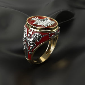 FDLK    New Design Red Geometric Finger Ring Fashion Jewelry Metal Horse Crown Pattern Wedding Rings For Men Women