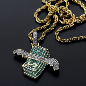 FDLK     New Iced Out Flying Cash Solid Pendant Necklace Mens Personalized Hip Hop Gold Color Charm Chains Jewelry Gifts
