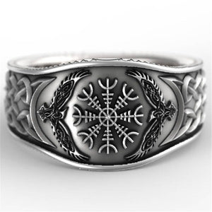 FDLK   Nordic Mythology Story Viking Compass Retro Graffiti Punk Silver Color Ring for Men