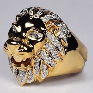 FDLK  Punk Style Lion Head Personality Ring Mens Rose Gold Natural White Crystal Rings Wedding Engagement Band Jewelry Size 6-13